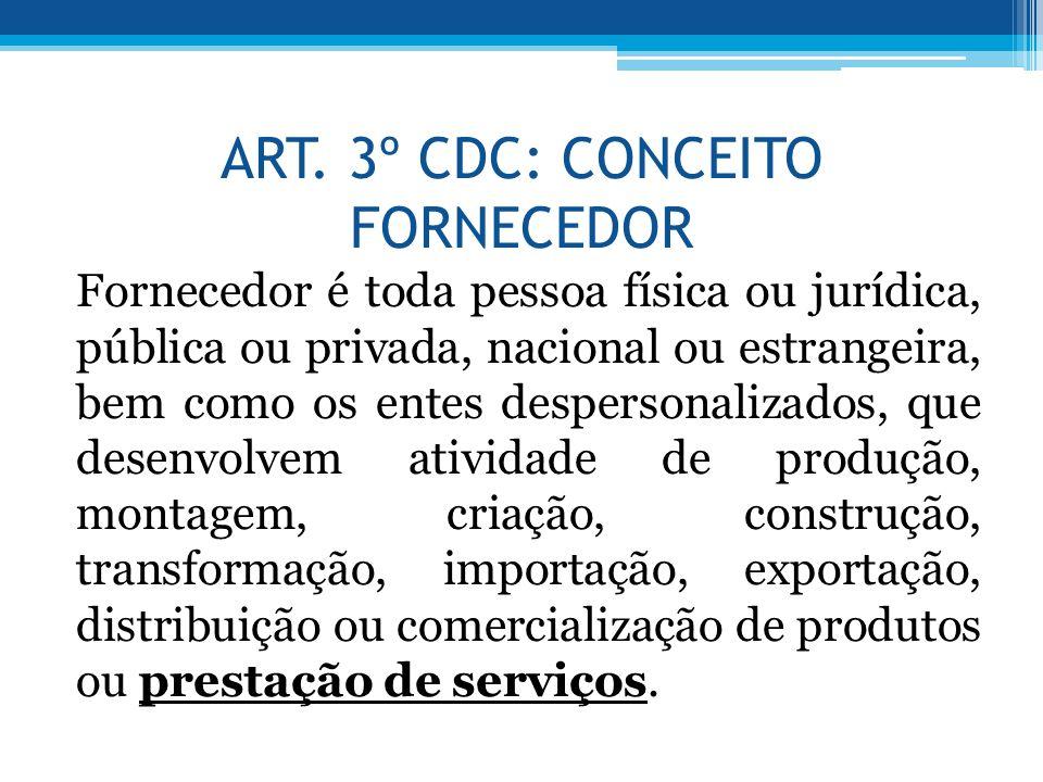 ART. 3º CDC: CONCEITO FORNECEDOR
