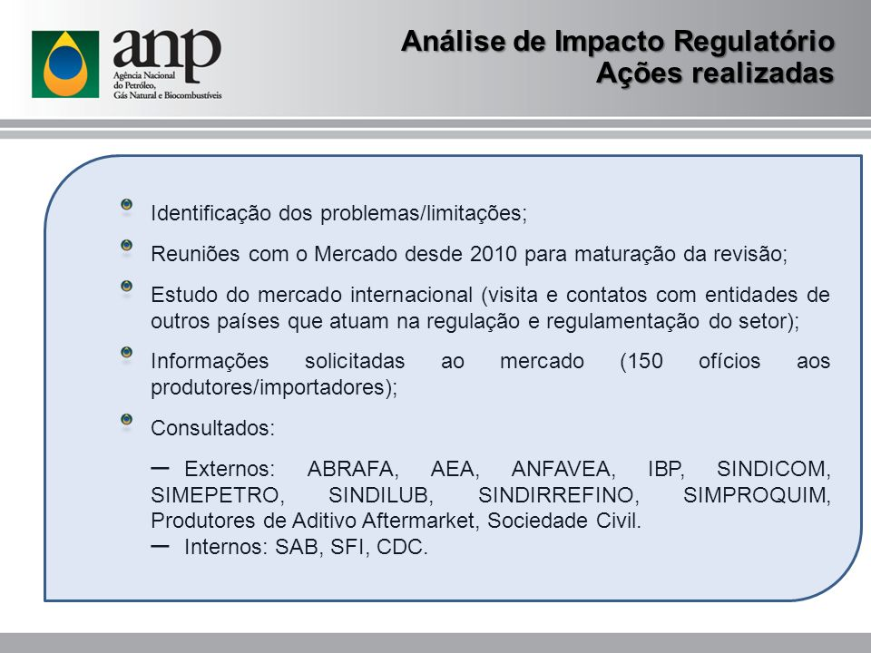 Análise de Impacto Regulatório Ações realizadas