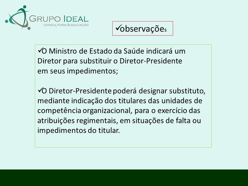 observações O Ministro de Estado da Saúde indicará um Diretor para substituir o Diretor-Presidente.