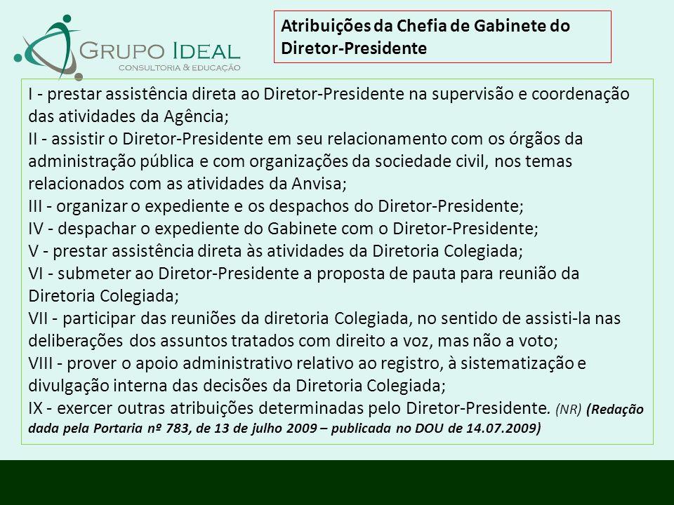 Atribuições da Chefia de Gabinete do Diretor-Presidente