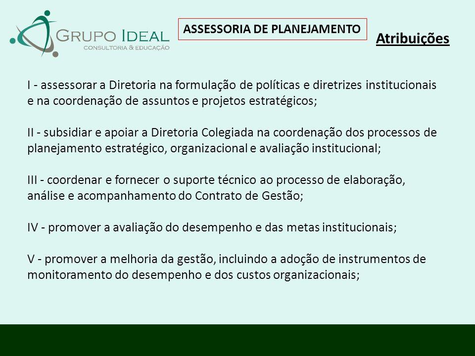 Atribuições ASSESSORIA DE PLANEJAMENTO