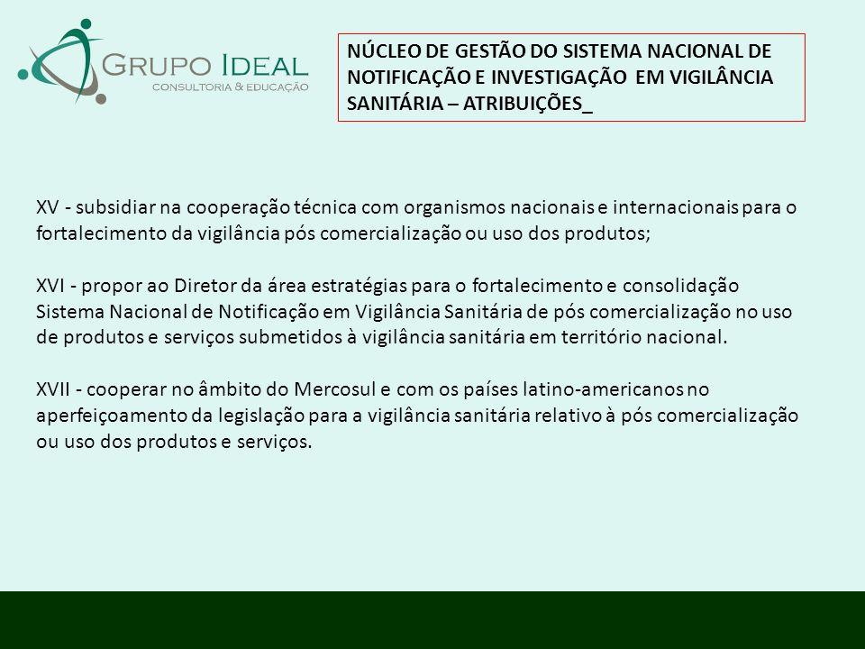 NÚCLEO DE GESTÃO DO SISTEMA NACIONAL DE NOTIFICAÇÃO E INVESTIGAÇÃO EM VIGILÂNCIA SANITÁRIA – ATRIBUIÇÕES_