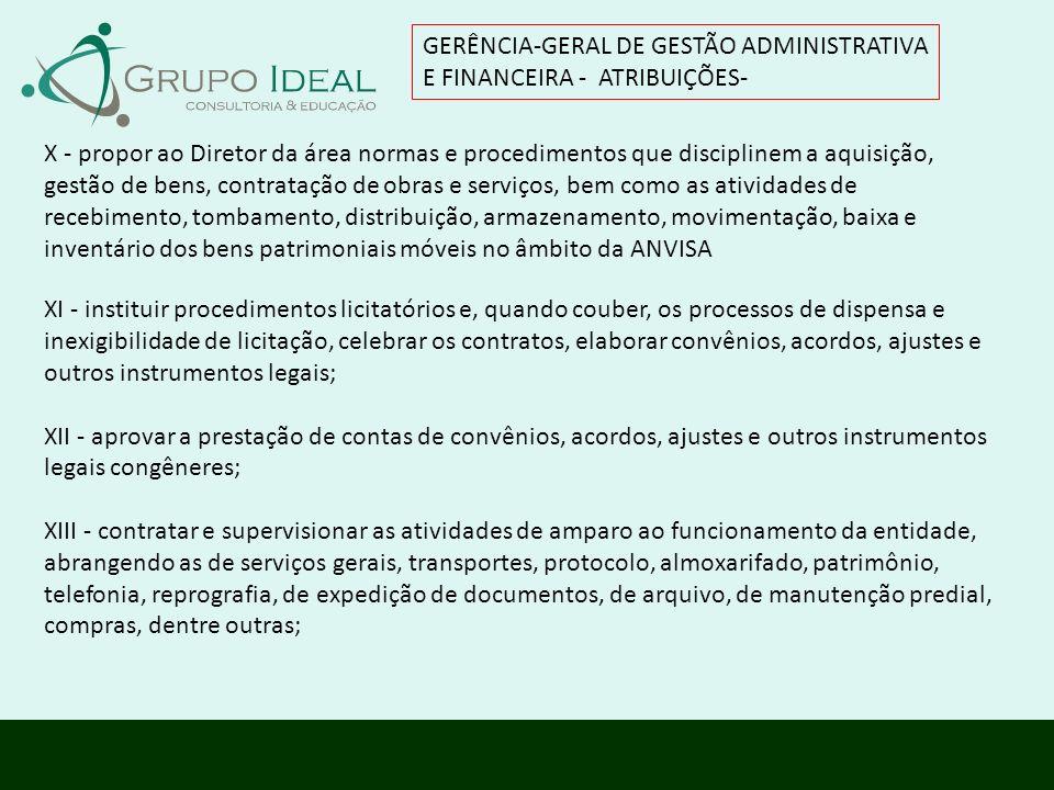 GERÊNCIA-GERAL DE GESTÃO ADMINISTRATIVA E FINANCEIRA - ATRIBUIÇÕES-
