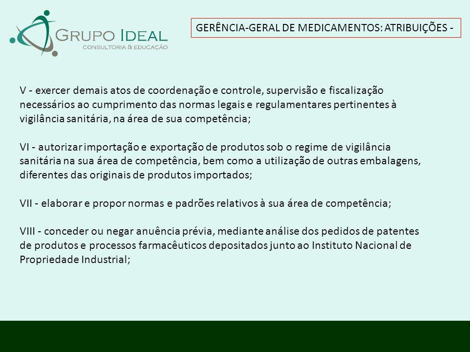 GERÊNCIA-GERAL DE MEDICAMENTOS: ATRIBUIÇÕES -