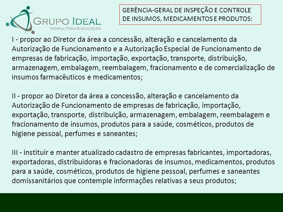 GERÊNCIA-GERAL DE INSPEÇÃO E CONTROLE DE INSUMOS, MEDICAMENTOS E PRODUTOS:
