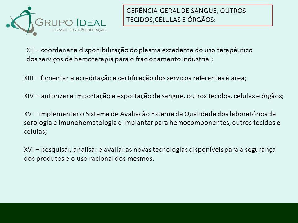 GERÊNCIA-GERAL DE SANGUE, OUTROS TECIDOS,CÉLULAS E ÓRGÃOS:
