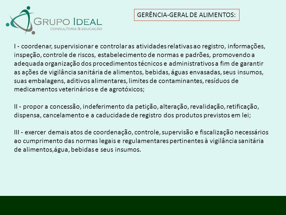 GERÊNCIA-GERAL DE ALIMENTOS: