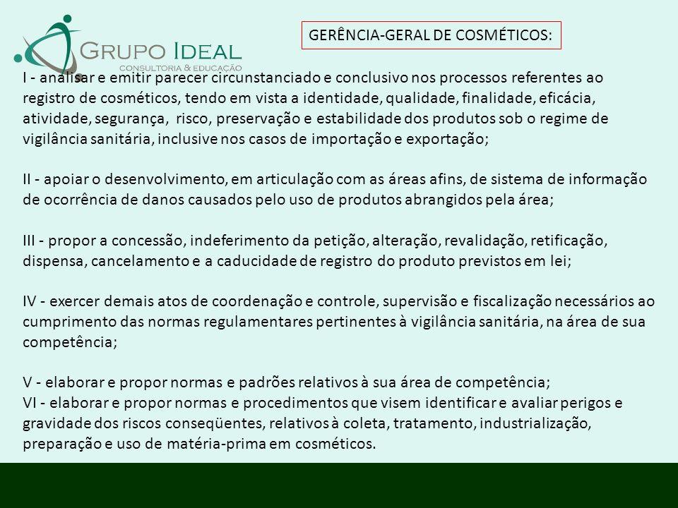 GERÊNCIA-GERAL DE COSMÉTICOS: