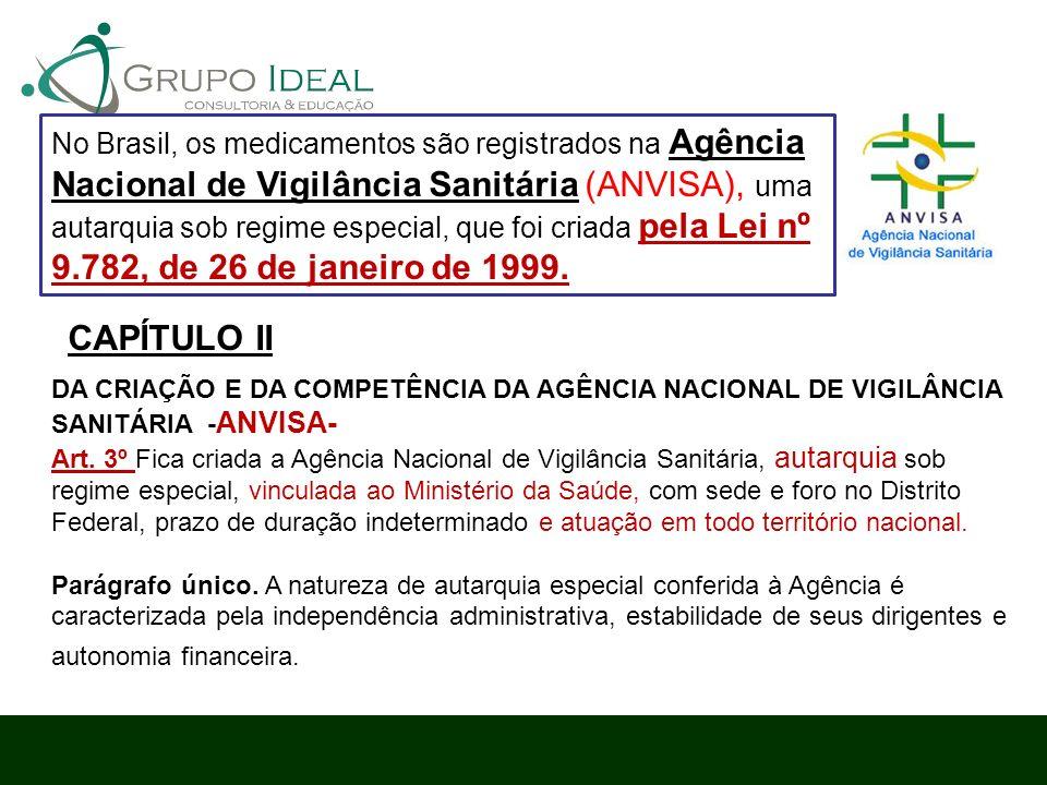 No Brasil, os medicamentos são registrados na Agência Nacional de Vigilância Sanitária (ANVISA), uma autarquia sob regime especial, que foi criada pela Lei nº 9.782, de 26 de janeiro de 1999.