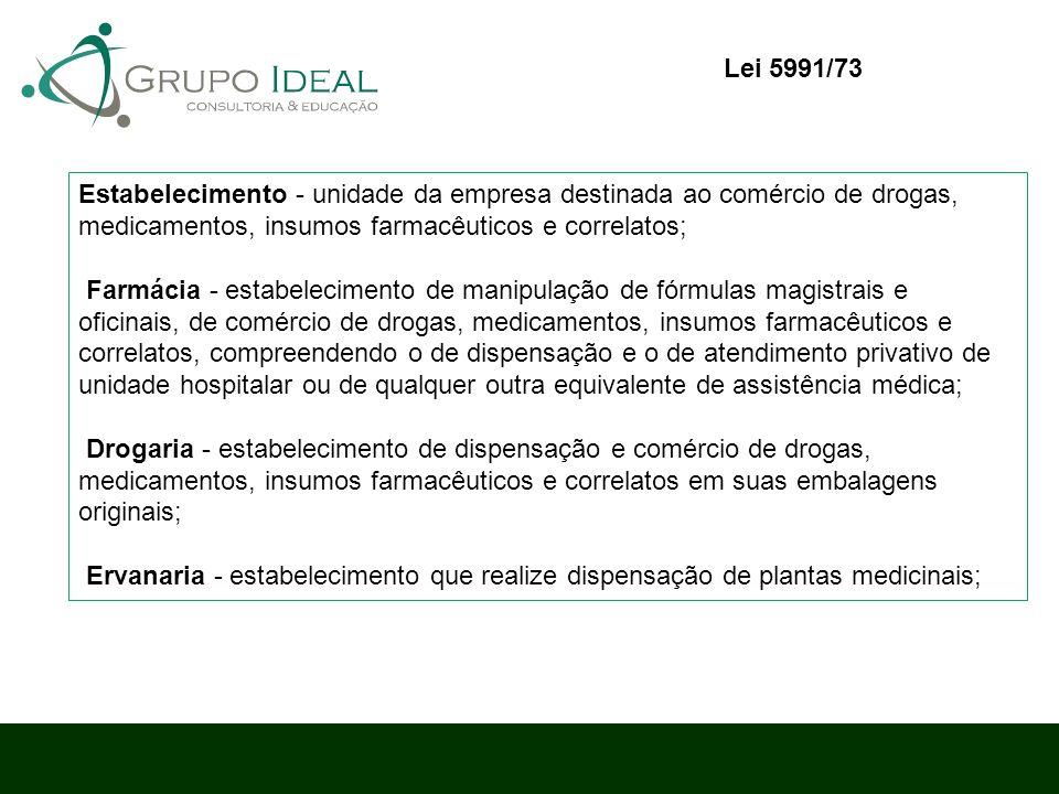 Lei 5991/73 Estabelecimento - unidade da empresa destinada ao comércio de drogas, medicamentos, insumos farmacêuticos e correlatos;