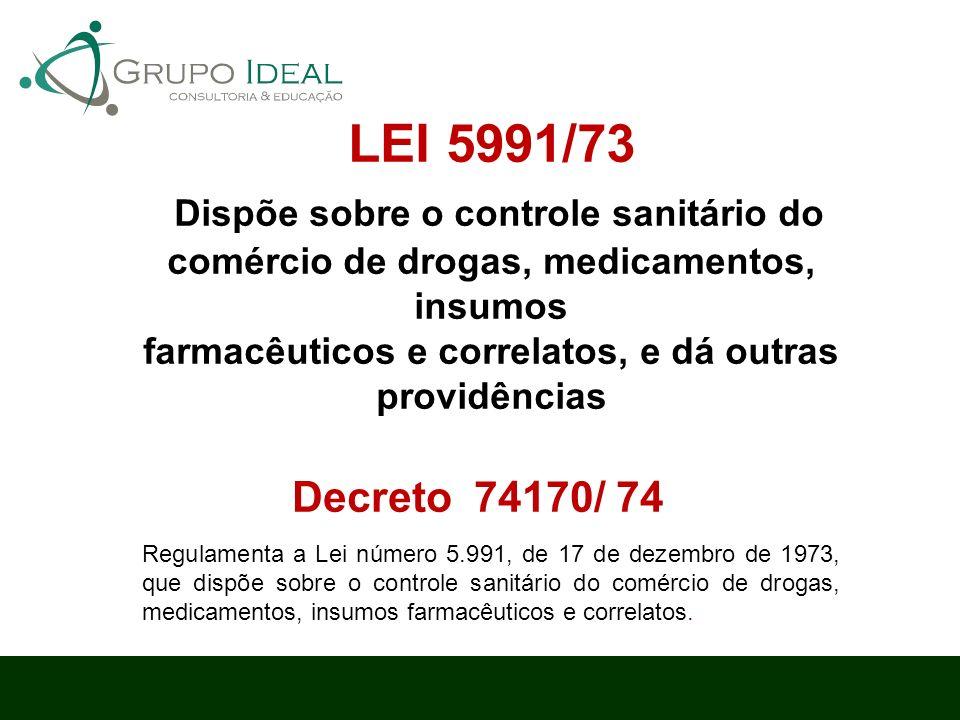 LEI 5991/73 Dispõe sobre o controle sanitário do comércio de drogas, medicamentos, insumos farmacêuticos e correlatos, e dá outras providências