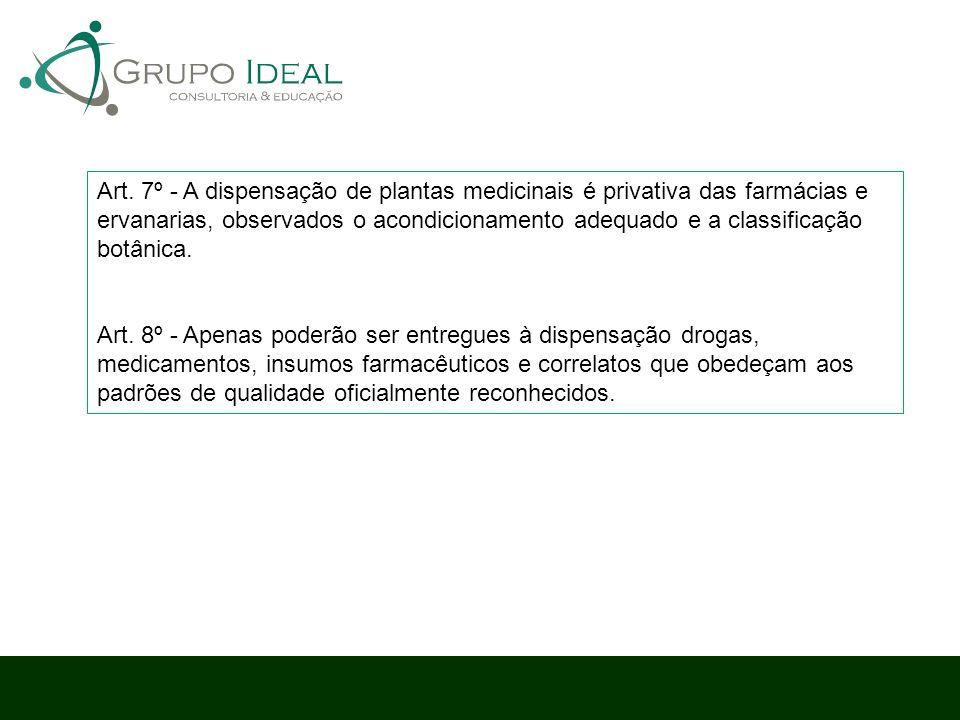 Art. 7º - A dispensação de plantas medicinais é privativa das farmácias e ervanarias, observados o acondicionamento adequado e a classificação botânica.