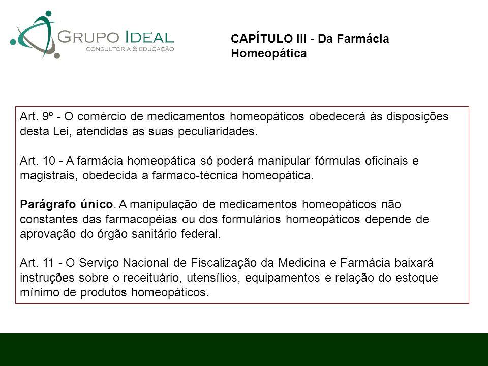CAPÍTULO III - Da Farmácia Homeopática