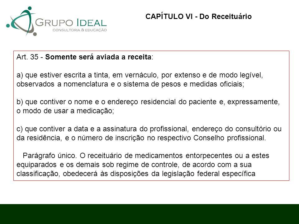 CAPÍTULO VI - Do Receituário