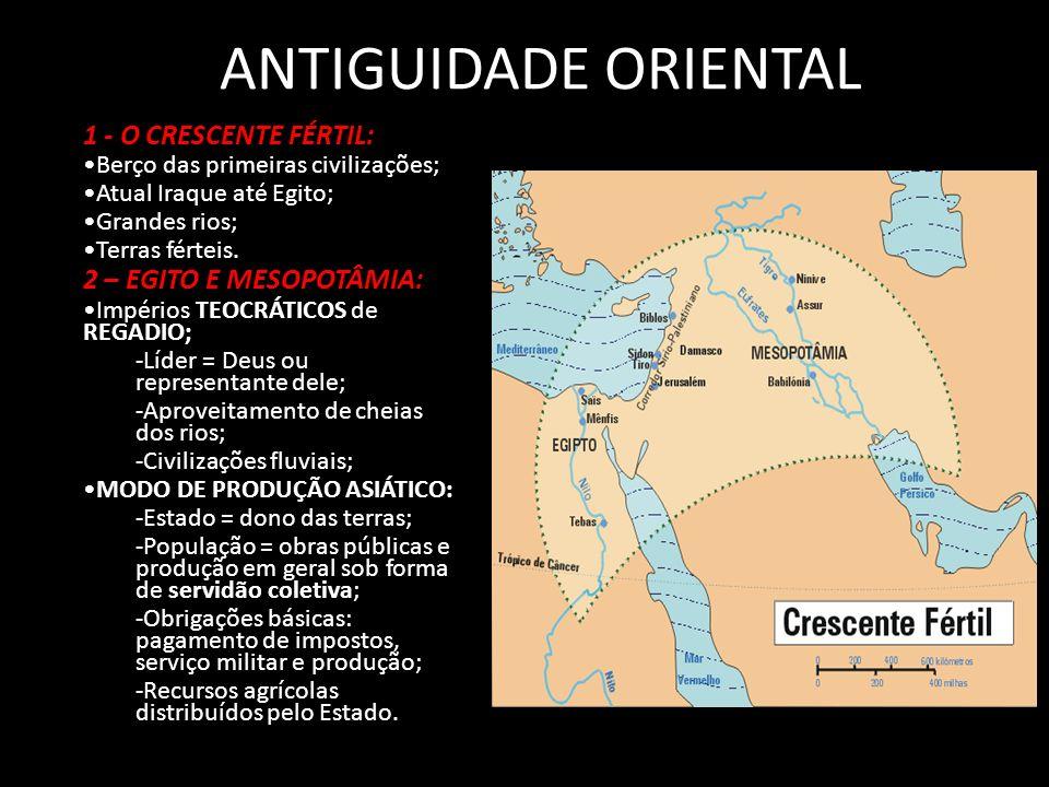 ANTIGUIDADE ORIENTAL 1 - O CRESCENTE FÉRTIL: 2 – EGITO E MESOPOTÂMIA:
