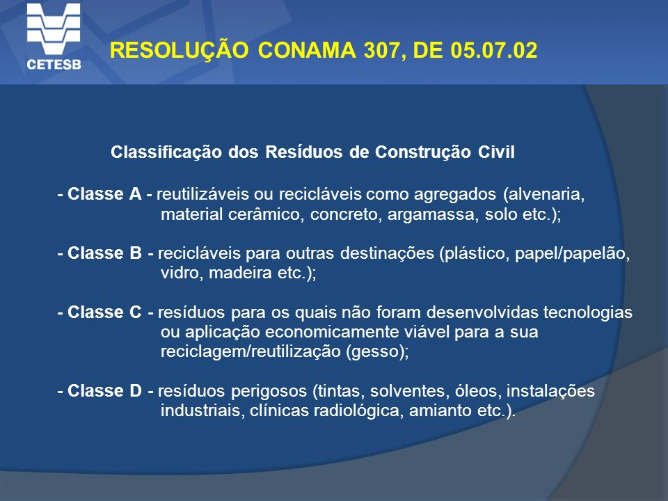 RESOLUÇÃO CONAMA 307, DE 05.07.02 Classificação dos Resíduos de Construção Civil.