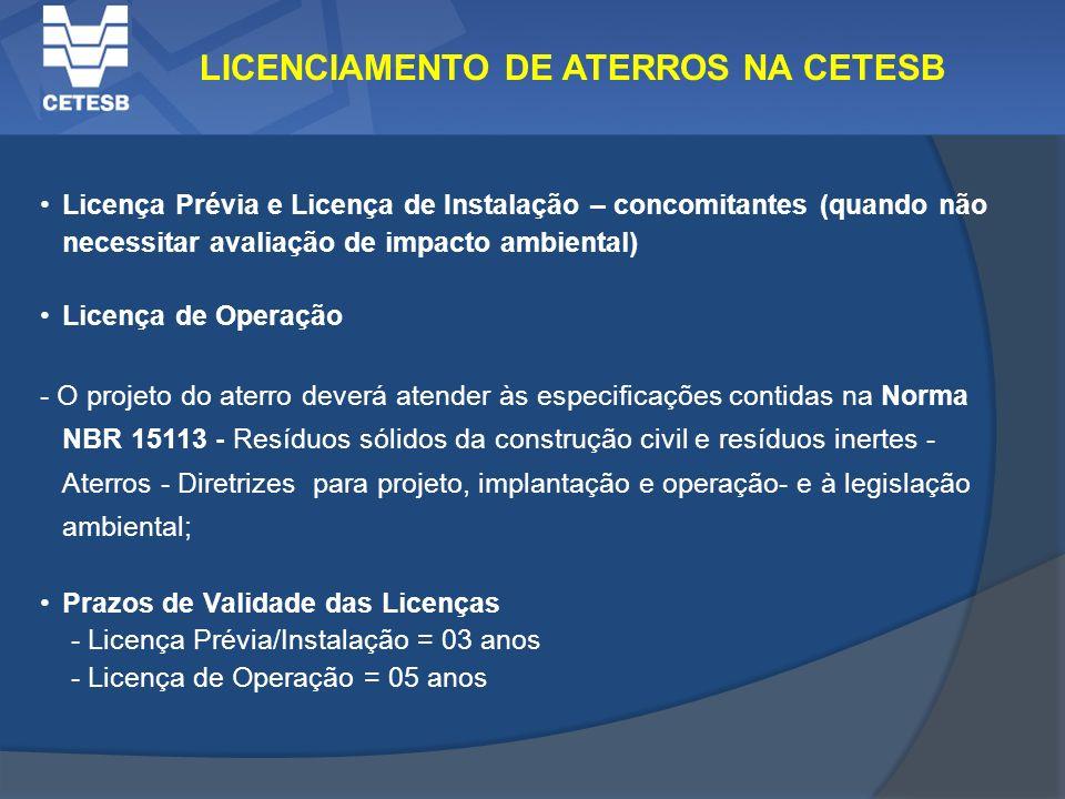 LICENCIAMENTO DE ATERROS NA CETESB