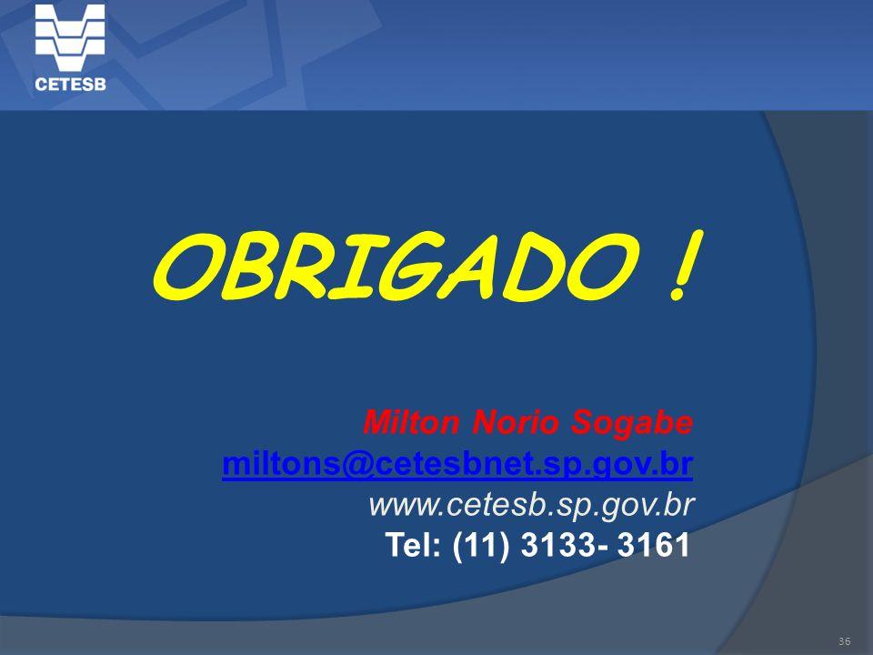 OBRIGADO ! Milton Norio Sogabe miltons@cetesbnet.sp.gov.br