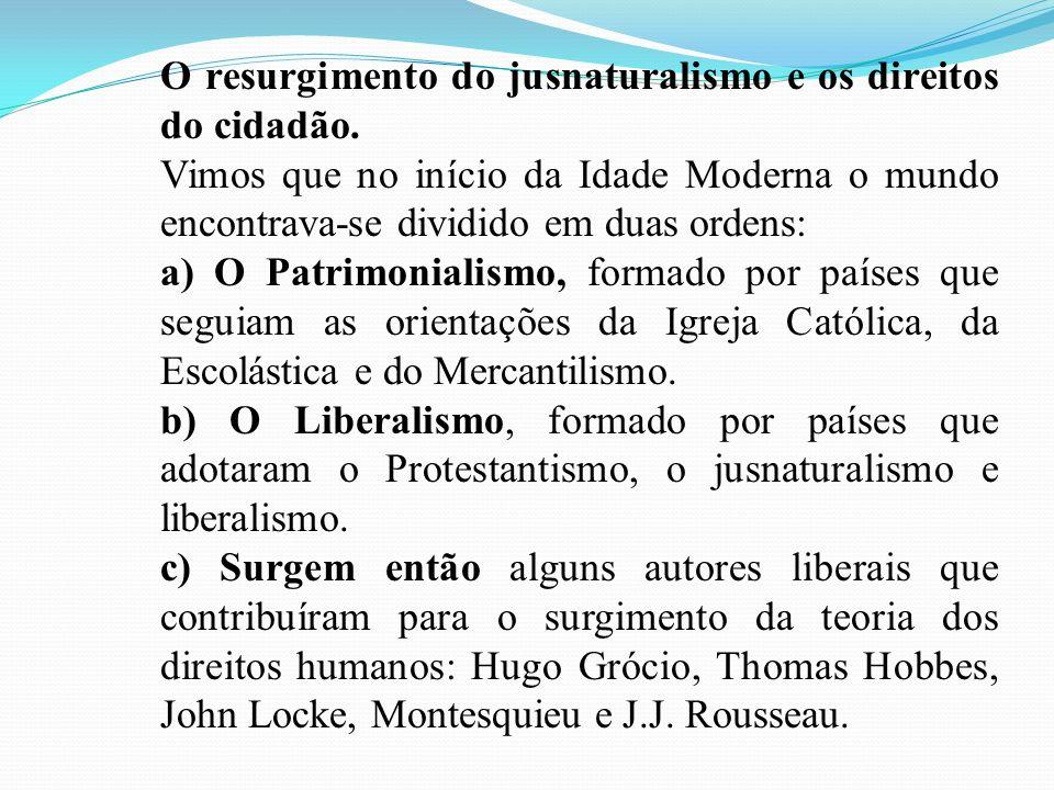 O resurgimento do jusnaturalismo e os direitos do cidadão.