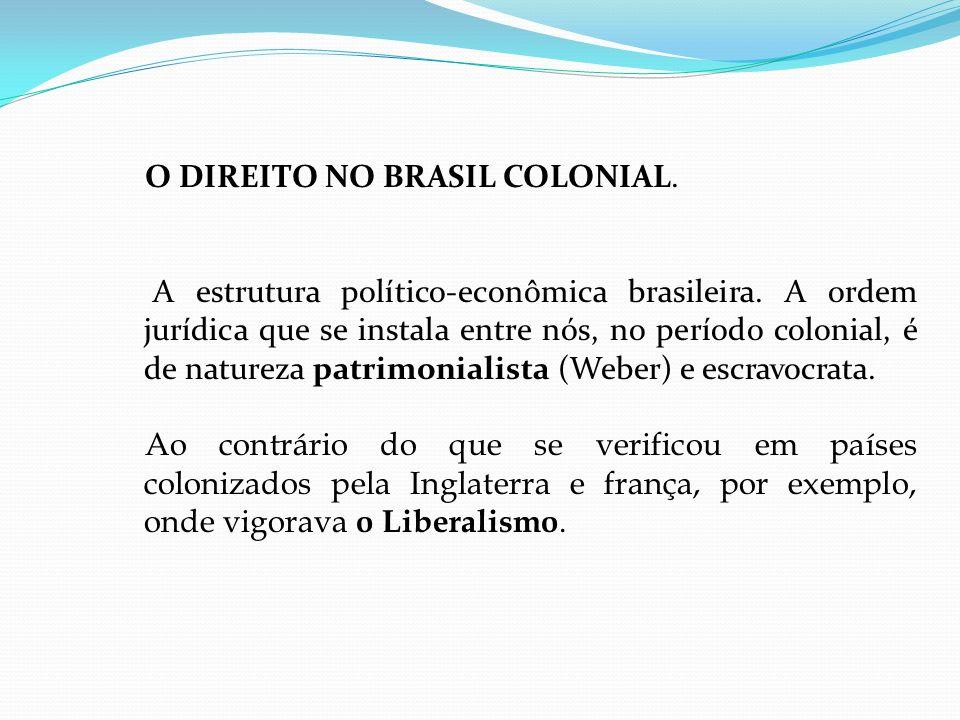 O DIREITO NO BRASIL COLONIAL. A estrutura político-econômica brasileira.