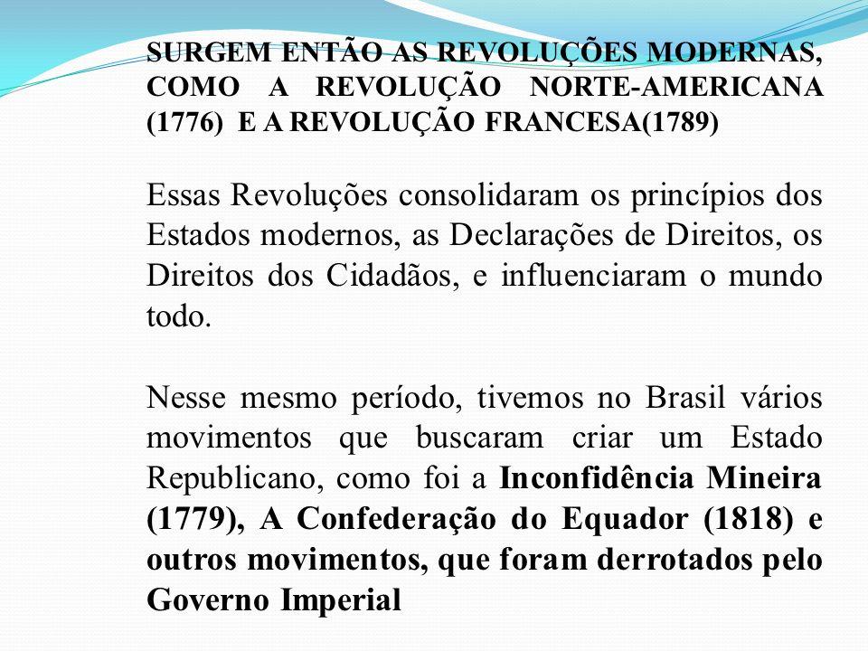 SURGEM ENTÃO AS REVOLUÇÕES MODERNAS, COMO A REVOLUÇÃO NORTE-AMERICANA (1776) E A REVOLUÇÃO FRANCESA(1789)