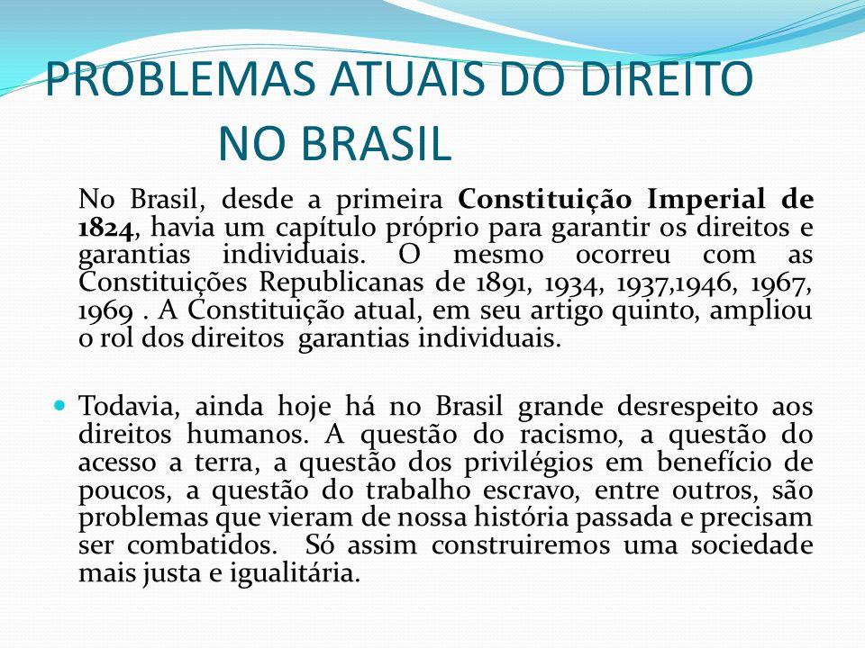 PROBLEMAS ATUAIS DO DIREITO NO BRASIL