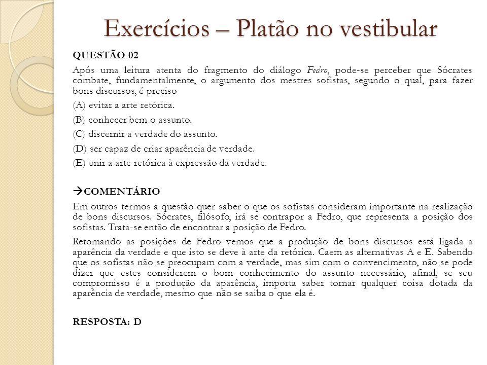 Exercícios – Platão no vestibular