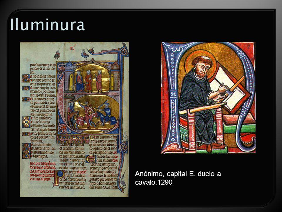 Iluminura Anônimo, capital E, duelo a cavalo,1290