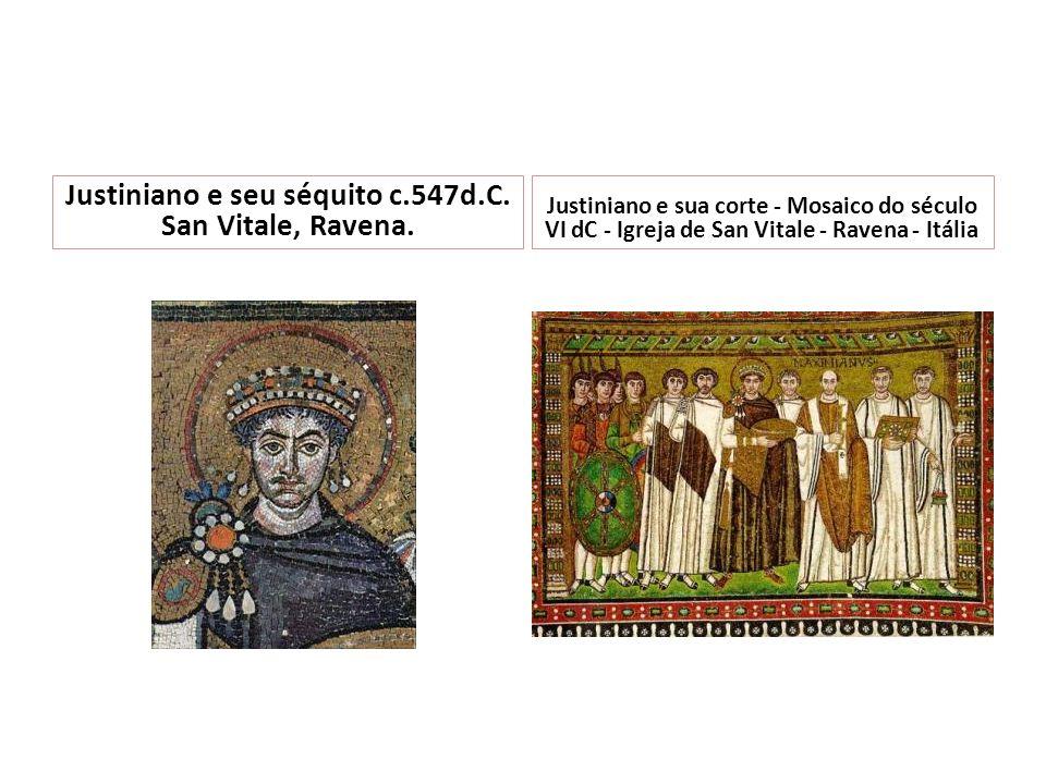 Justiniano e seu séquito c.547d.C. San Vitale, Ravena.