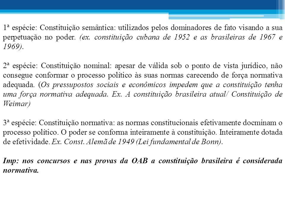 1ª espécie: Constituição semântica: utilizados pelos dominadores de fato visando a sua perpetuação no poder. (ex. constituição cubana de 1952 e as brasileiras de 1967 e 1969).