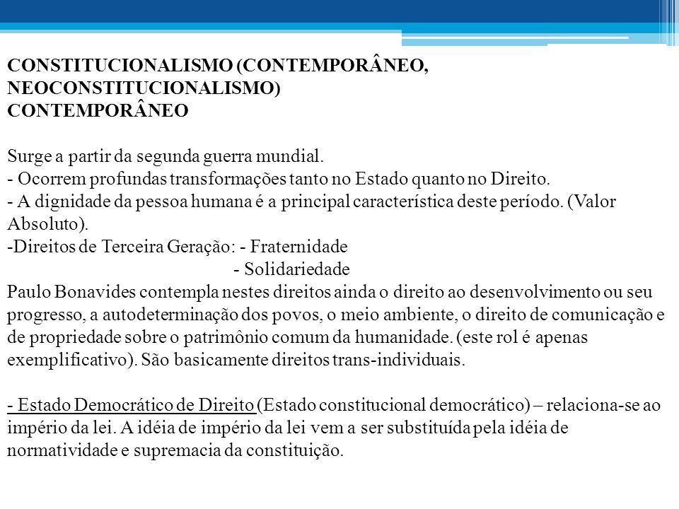 CONSTITUCIONALISMO (CONTEMPORÂNEO, NEOCONSTITUCIONALISMO)