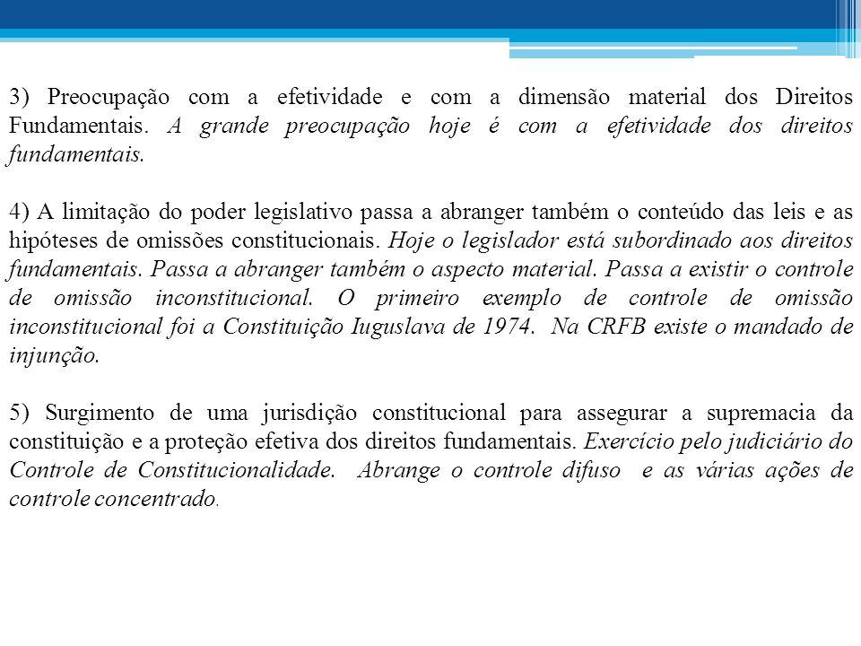 3) Preocupação com a efetividade e com a dimensão material dos Direitos Fundamentais. A grande preocupação hoje é com a efetividade dos direitos fundamentais.