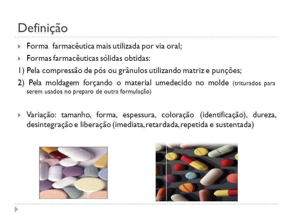 Definição Forma farmacêutica mais utilizada por via oral;