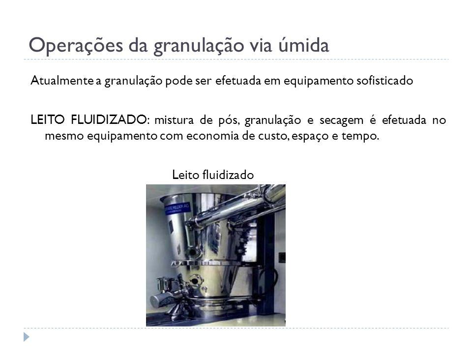 Operações da granulação via úmida