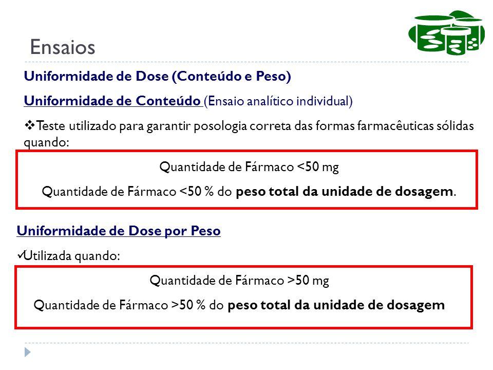 Ensaios Uniformidade de Dose (Conteúdo e Peso)