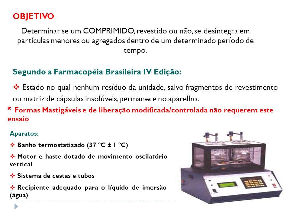 Segundo a Farmacopéia Brasileira IV Edição: