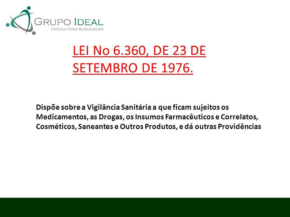 LEI No 6.360, DE 23 DE SETEMBRO DE 1976.