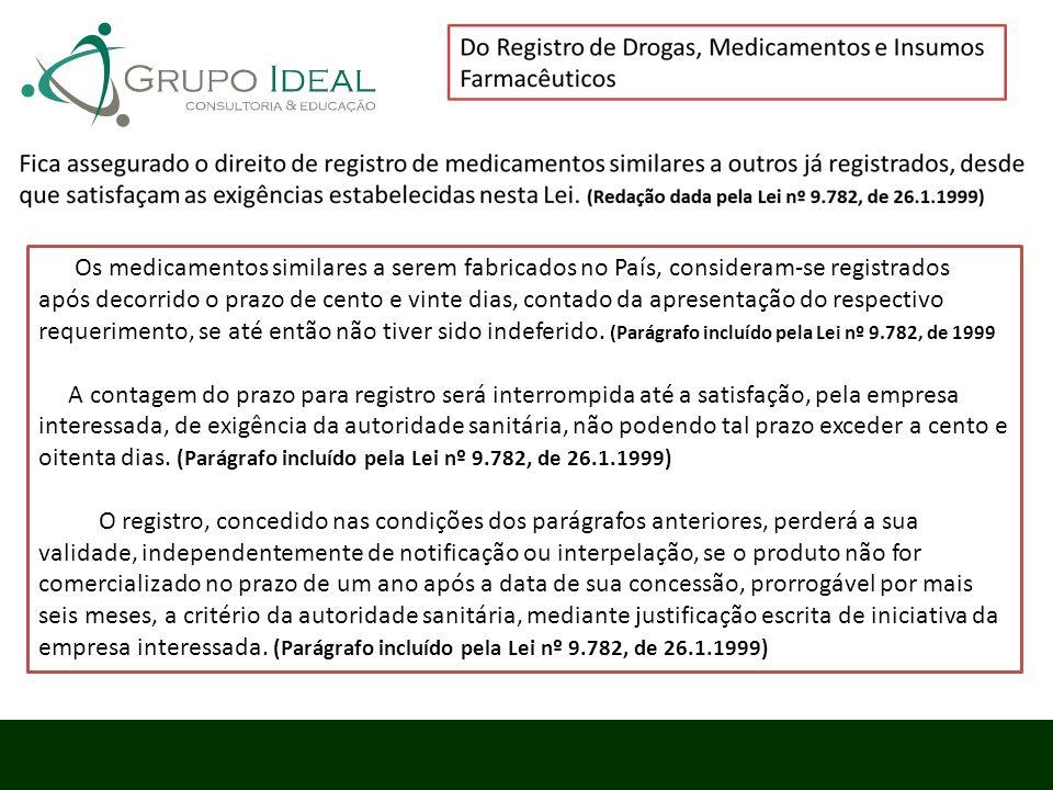 Os medicamentos similares a serem fabricados no País, consideram-se registrados após decorrido o prazo de cento e vinte dias, contado da apresentação do respectivo requerimento, se até então não tiver sido indeferido. (Parágrafo incluído pela Lei nº 9.782, de 1999