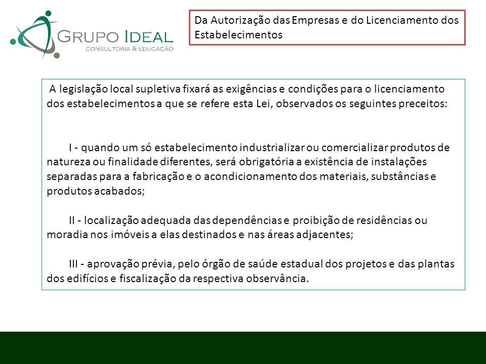 Da Autorização das Empresas e do Licenciamento dos Estabelecimentos