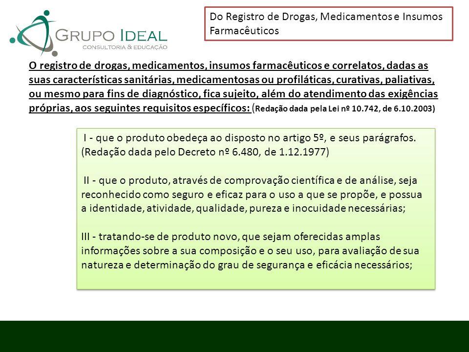 Do Registro de Drogas, Medicamentos e Insumos Farmacêuticos