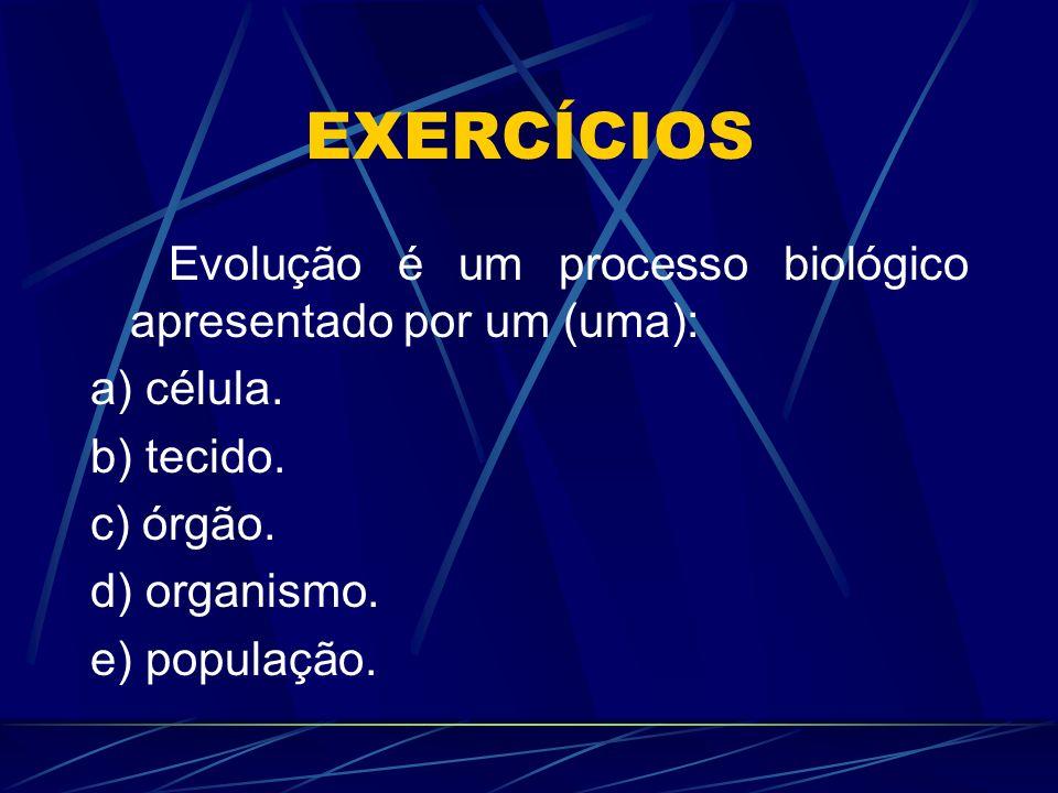 EXERCÍCIOS Evolução é um processo biológico apresentado por um (uma):