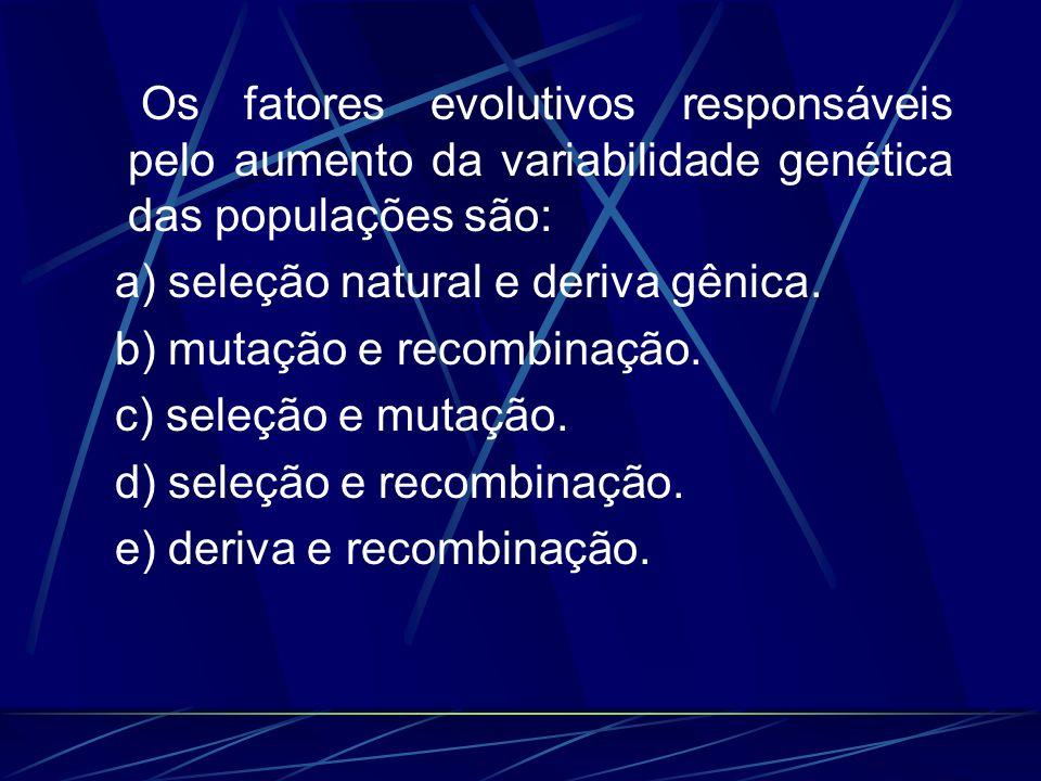 Os fatores evolutivos responsáveis pelo aumento da variabilidade genética das populações são: