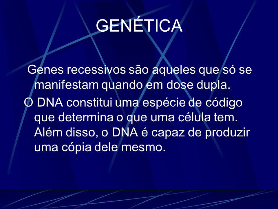GENÉTICAGenes recessivos são aqueles que só se manifestam quando em dose dupla.