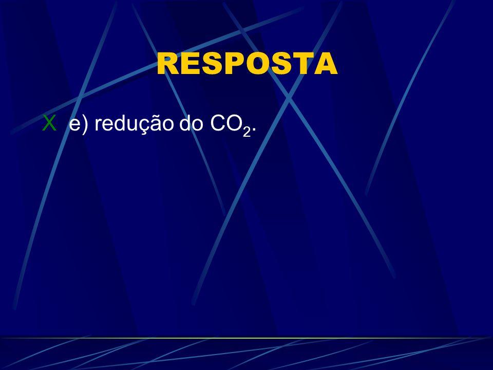 RESPOSTA X e) redução do CO2.
