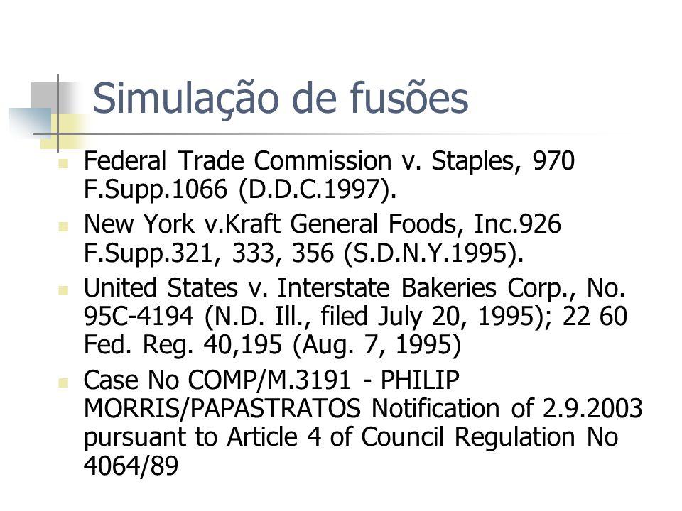Simulação de fusões Federal Trade Commission v. Staples, 970 F.Supp.1066 (D.D.C.1997).
