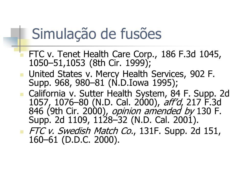 Simulação de fusões FTC v. Tenet Health Care Corp., 186 F.3d 1045, 1050–51,1053 (8th Cir. 1999);