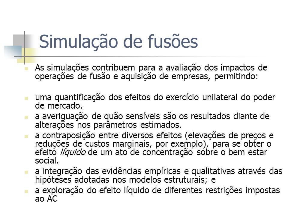 Simulação de fusões As simulações contribuem para a avaliação dos impactos de operações de fusão e aquisição de empresas, permitindo: