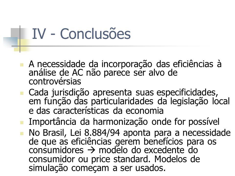 IV - Conclusões A necessidade da incorporação das eficiências à análise de AC não parece ser alvo de controvérsias.