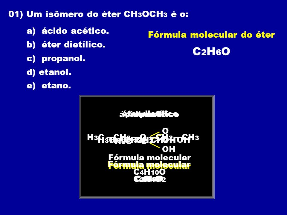 Fórmula molecular do éter