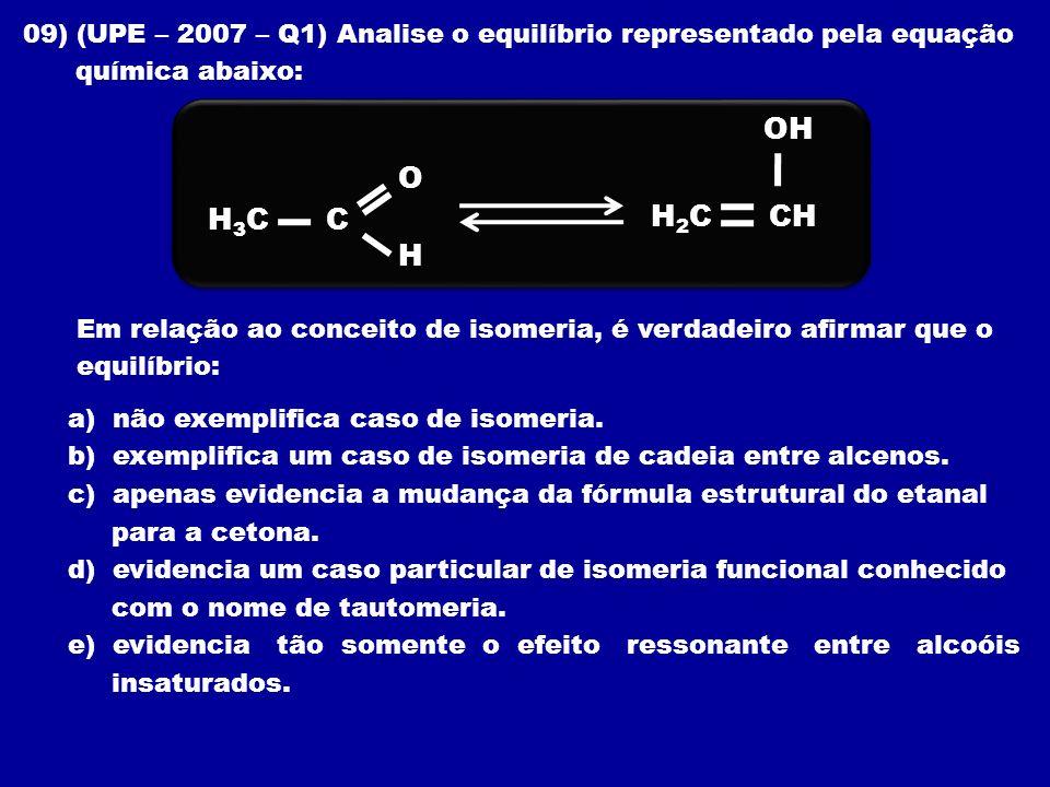 09) (UPE – 2007 – Q1) Analise o equilíbrio representado pela equação